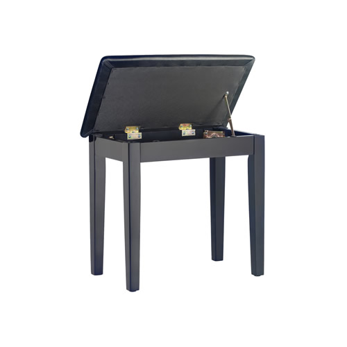 Matt Piano Bench with Black Vinyl Top, Wooden