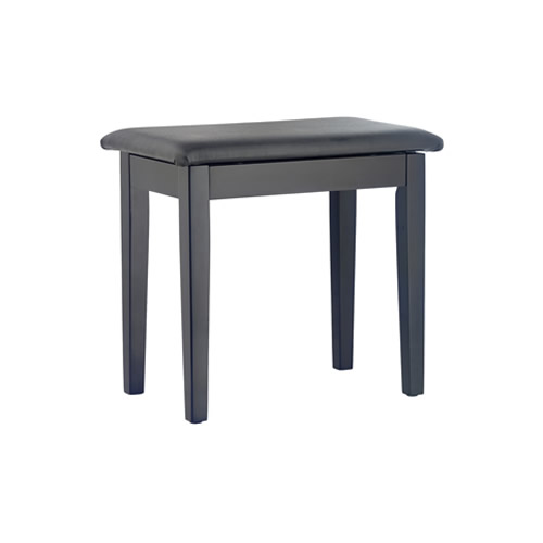 Matt Black Piano Bench with Black Vinyl Top, Wooden