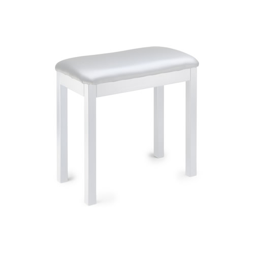 Matt White Piano Bench with Black Vinyl Top, Wooden